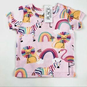"""""""Zoo animals"""" pink baby t shirt brand new"""